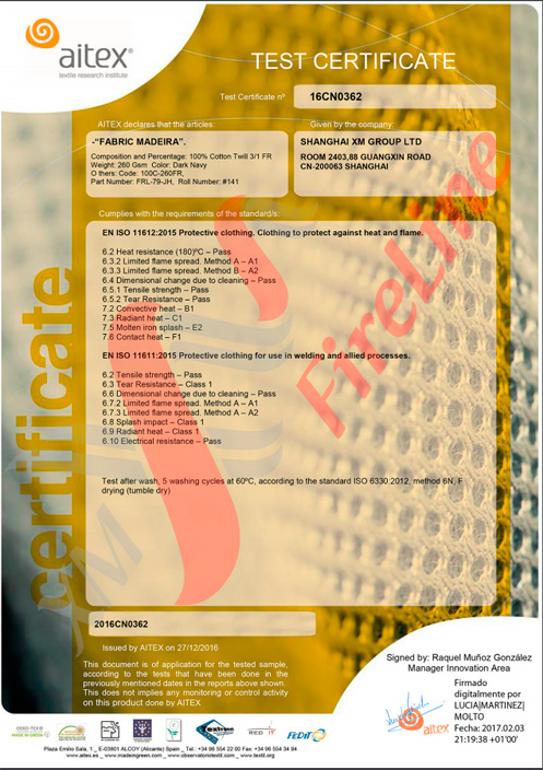 Madeira-260 FR-Twill<br> ISO 11611-certificate