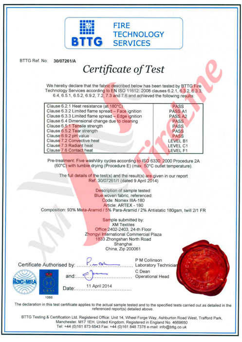 Artex-180 FR-Twill<br> ISO 11612 Certificate