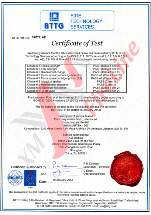 Artex-260 FR-Twill<br>ISO 11611 Certificate