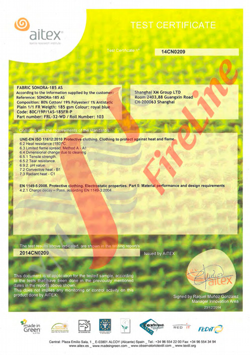 Sonora-185AS FR-Plain<br> ISO 11612 Certificate